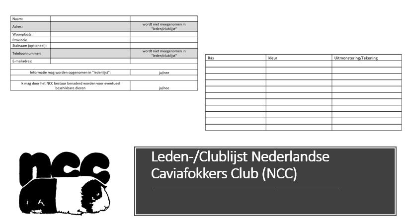 Leden-/Clublijst Nederlandse Caviafokkers Club (NCC)