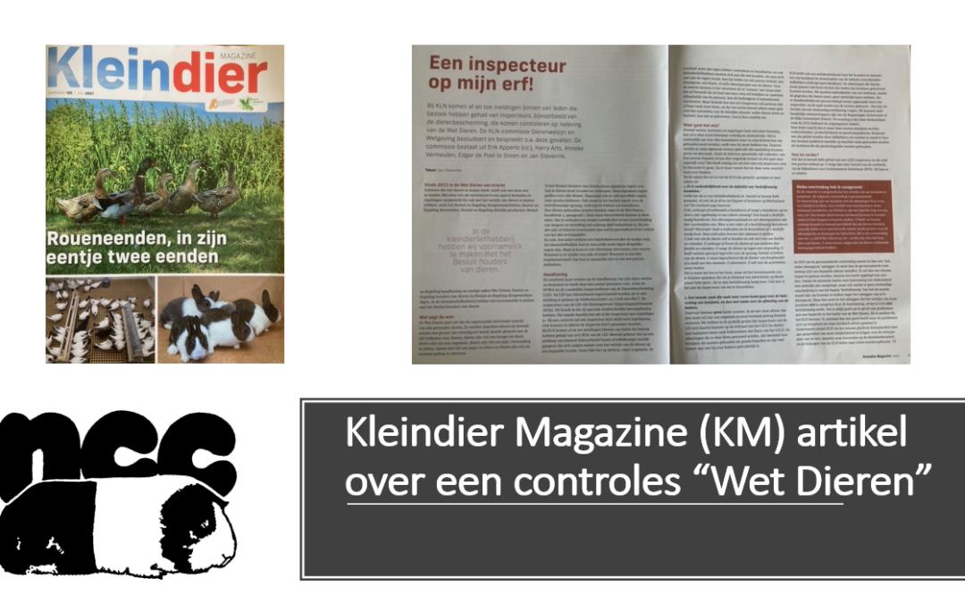 """Kleindier Magazine (KM) artikel over een controles """"Wet Dieren"""""""